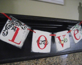Valentine Decoration LOVE Red and Black Banner Garland Sign