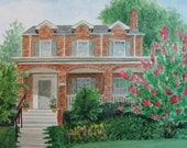 Custom House Portrait from your reference photo, Real Estate Closing or Housewarming Gift in Watercolor or Pen & Ink by Suzanne Churchill