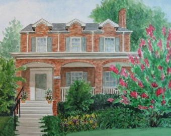 CUSTOM HOUSE PORTRAIT in Watercolor from your reference photo, Real Estate Closing Gift, Housewarming or Parents Gift by Suzanne Churchill
