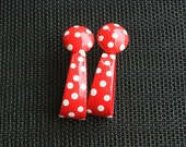 Red White Polka Dot Rockabilly Big Earrings Vintage Large Hoops Metal Retro Cute