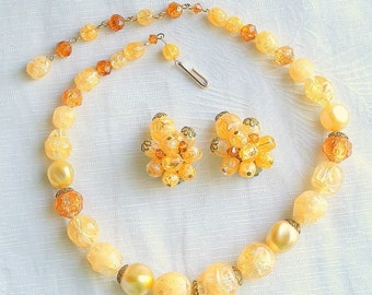 Vintage Bead Necklace Cluster Earrings Peach Yellow Caramel Bead Necklace Earrings Set Vintage Signed Germany