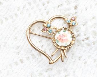 Heart Brooch Open Heart Vintage Pin Openwork Rhinestones Enamel Aqua Pink