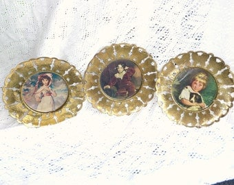 Metal Picture Plates 3 Vintage Girl with Dog Victorian Boy Girl in Pink Dress Bonnet Old Time Brass Filigree Wall Hangings