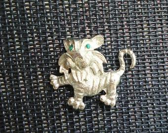 Vintage Lion Cub Pin Brooch Silver Figural Pin Cute Small Green Rhinestone Eyes Baby Simba