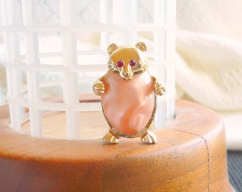 Jelly Belly Bear Brooch Vintage Pink Satin Lucite Figural Huggy Bear