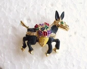 Vintage Donkey Pin Flowers Brooch Vintage Donkey Burro Figural Black Enamel Multicolor Flower Baskets 1950s Pin