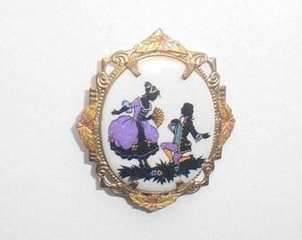 Purple Victorian Lovers Brooch Vintage Tri Gold West German Purple Black Tri Color Gold Leaf