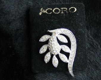 Silver Rhinestone Brooch Vintage Unsigned Coro Pin Curving Silvertone Organic Design