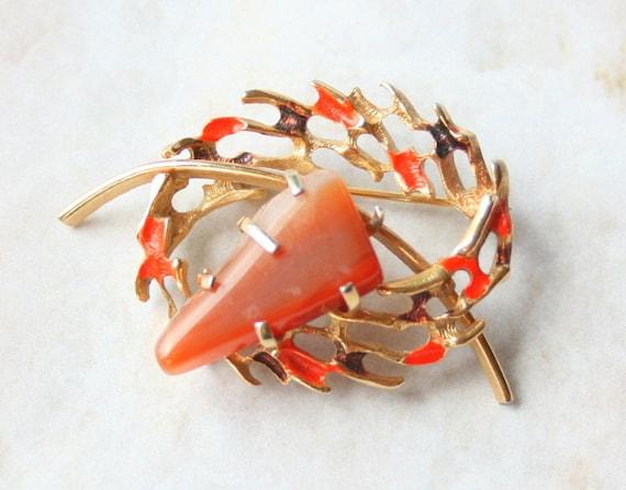 Carnelian Agate Brooch Enamel Vintage Openwork Pin Gold Orange Brown