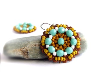 SALE - Mustard Turquoise Patina Beadwork Drop Earrings Bohemian Beadwoven Red Blue Yellow Colorful Boho Jewellery