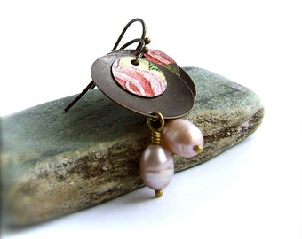 SALE - Pink Rose Dangle Drop Earrings Eco-friendly Vintage Tin Pearl Floral Garden Boho Jewellery
