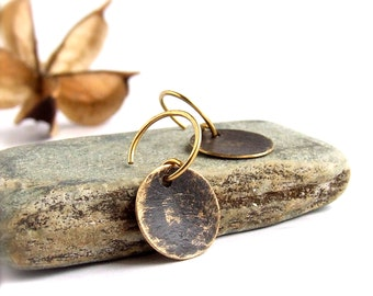 SALE - Black Gold Dangle Drop Earrings Rustic Patina Textured Brass Round Circle Boho Jewellery