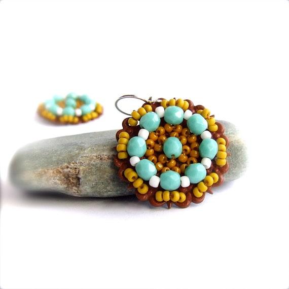 SALE - Mustard Turquoise Beadwork Earrings - Bohemian Beadwoven Red Patina Blue Yellow Colorful Boho Jewellery