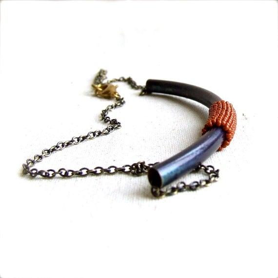 Blue Patina Brass Tubing, Poppy Orange - Beadwoven Necklace -Roam No.1 - Under 50-