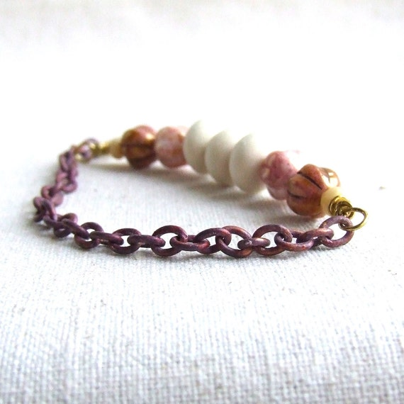 Cream Pink Patina Chain Bracelet Peach White Rustic Beadwork Beaded Jewellery