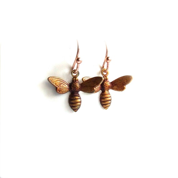 Rust Patinaed Brass Bee, Copper - Patina Earrings -Bzzzzz - Fall Fashion- Black Friday