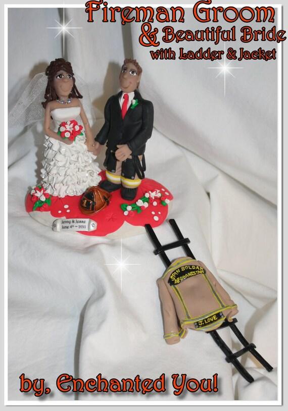 Fireman Wedding Cake Topper Personalized