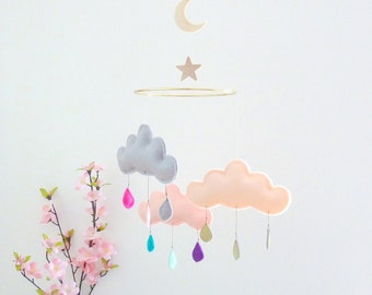 "Rain Cloud Mobile Nursery Children Decor-Cloud mobile for nursery ""MOON DREAM""by The Butter Flying"