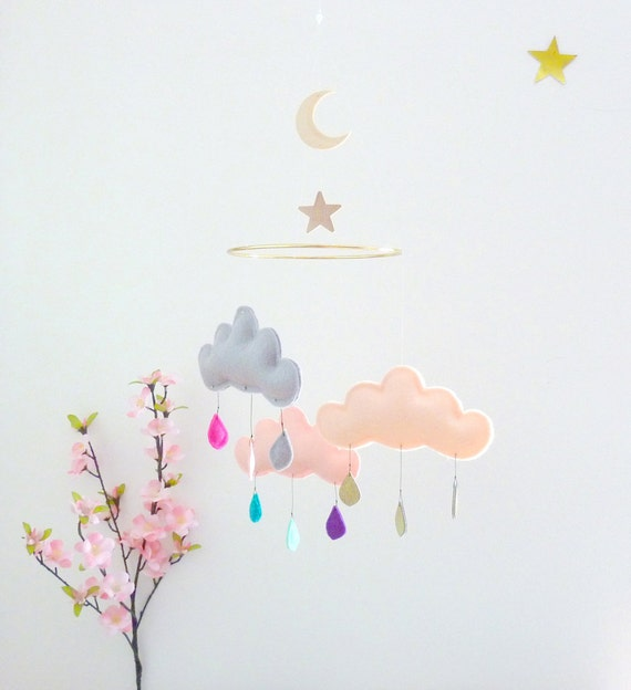 "Rain Cloud Mobile Nursery Children Decor-Cloud mobile for nursery ""MOON DREAM""by The Butter Flying"