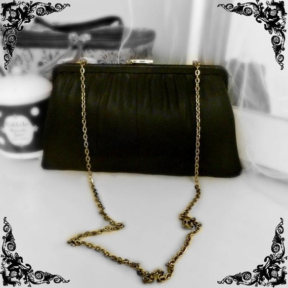 Vintage 40s-50s Black Satin Purse with Long Chain