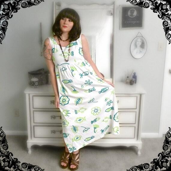 Vintage Diane von Furstenburg Maxidress in Tribal Tropical Print - Size M