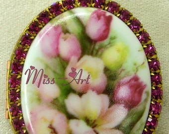FUCHSIA TULIPS Spring Floral Bouquet Vintage NOS Brass Locket Porcelain Cameo Solid Brass Chain Necklace Glass Rhinestones Miss-art