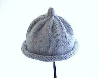 Hand Knit Baby Hat, Hand Knitted Baby Hat, Hand Knit Hat, Baby Hat Size 6 months, Blue Knit Hat, Baby Shower Gift, Baby Boy, Blue Hand Knit