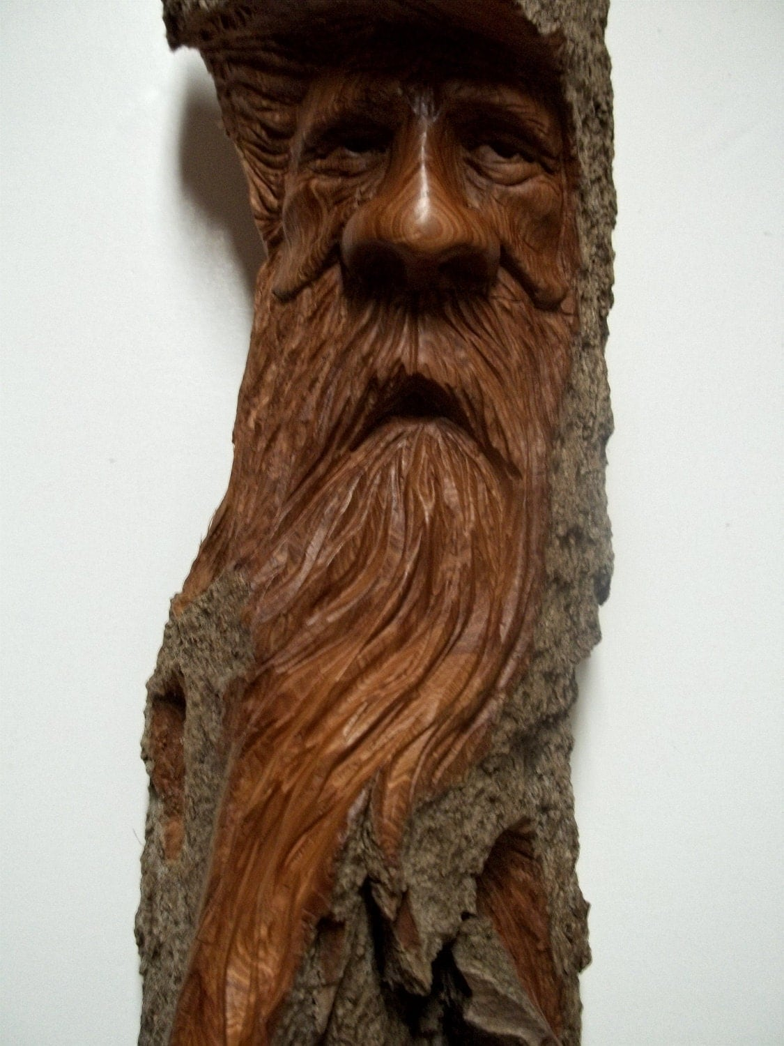 Woodspirit hand carved in cottonwood bark