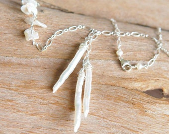 Artisan Icicles Necklace - Freshwater Pearls and Sterling Silver