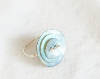 Sterling Silver and Blue Mother of Pearl Ring