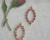 Vintage Swarovski Rhinestone Connectors 2 Rose Pink Findings 2 Rings