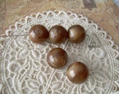5 Caramel Swirl Vintage Lucite Beads 15mm Brown Rounds