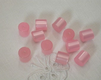 Petite Pink Vintage Moonglow Lucite Beads 30 Cylinders