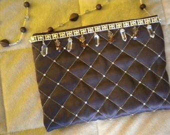 Chocolate Brown Quilted Evening Bag with Bling