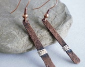 Wire wrapped copper bar earrings - medium length - rustic hammered earrings - hand forged