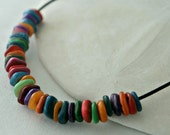 Rainbow shell necklace, leather, sterling silver