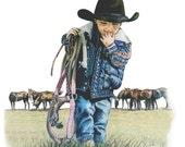 The Littlest Cowboy, Western Art Print by B.Bruckner