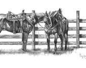 Cowponies Western Horse Art Print by B Bruckner