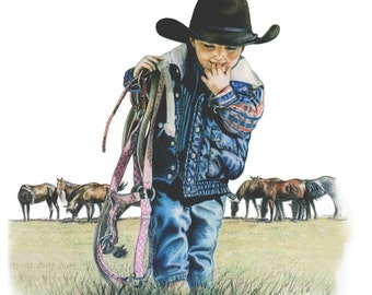 The Littlest Cowboy, Western Art Print by B.Bruckner