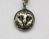 Owl Necklace Silver Barn Owl Pendant Necklace Owl Face Charm Owl Jewelry 054