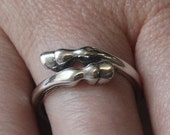 Large Horse Hoof Ring in Solid White Bronze with Sterling Silver Overlay 237