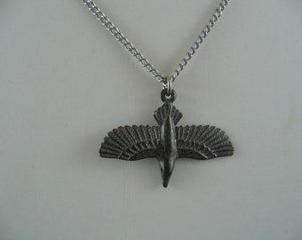 3D Soaring Raven Necklace Black Gunmetal - Crow Bird 310