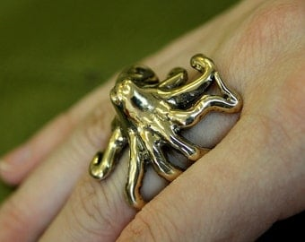 Octopus Ring in Solid Bronze octopus Ring Sideways Ocotpus Ring 076