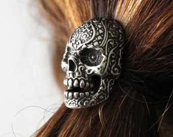 Sugar Skull Ponytail holder Silver Sugar Skull Hair Tie 032