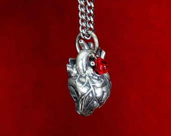Silver Anatomical Human Heart Necklace Anatomical Heart Pendant 154