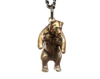Mama Bear Necklace in Solid Bronze Grizzly Bear pendant Necklace Totem Bear Charm 125