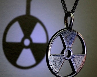 Radioactive Symbol Necklace Silver Trefoil  Pendant Necklace 117