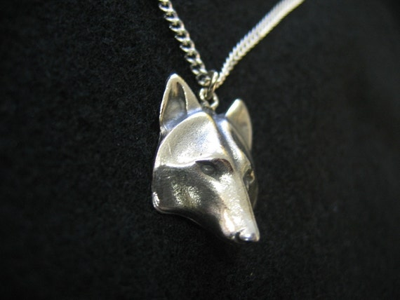 Wolf Mask Pendant Necklace - Hand Polished Silver Wolf Face 2009