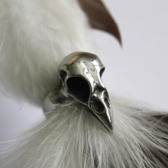 Bird Skull Ring -  Silver Baby Crow Skull Ring 131