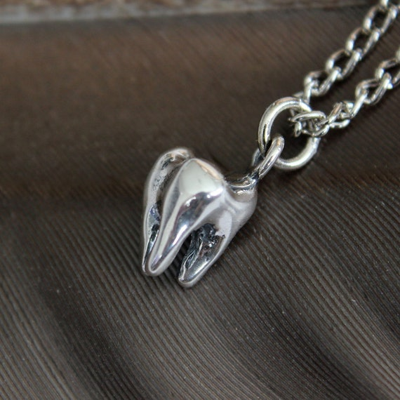 Silver Tooth Necklace Sterling Silver Molar Tooth Necklace 018